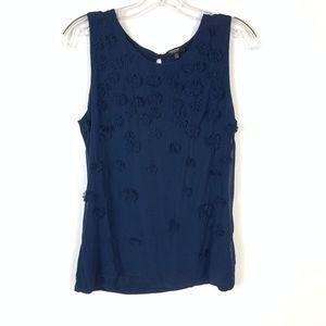 Premise Studio Blue Floral Embellish Ruffle Top M